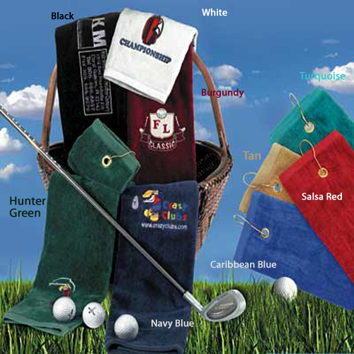 Golf towels tri folded with a gromet and hook